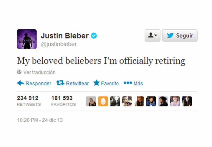 Justin Bieber Announces Retirement in a Tweet