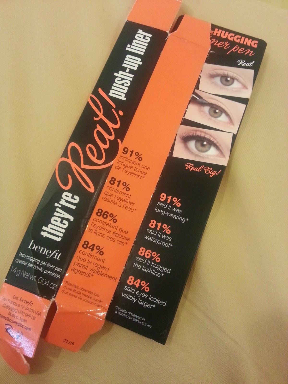 benefit they're real push up liner packaging