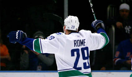 In The Dying Seconds Of A Road Game Versus Nashville Predators Canucks Defenseman Aaron Rome Scored His First Goal As Canuck It Was 200 Foot