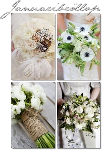 brudbukett vinter, vinter bröllop, vita brudbuketter, vinterbrud, winter wedding, bridal boqúqets winter