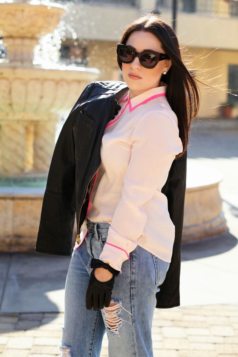 karen-walker-sunglasses-leather-bow-moto-driving-gloves-gap-boyfriend-jeans-jcrew-pink-silk-top-leather-jacket-anthropologie-king-and-kind-style-blog