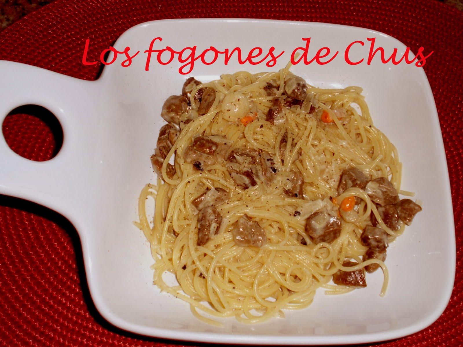 Los fogones de chus espaguetis con boletus y zamburi as for Espaguetis para dos