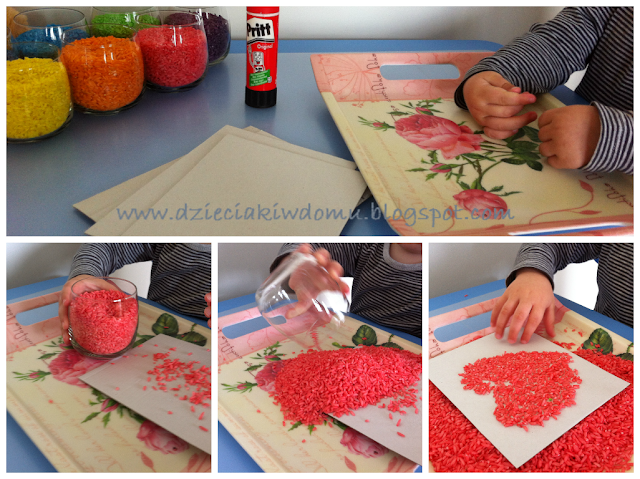 kolorowy ryż - kreatywna zabawa dla dzieci