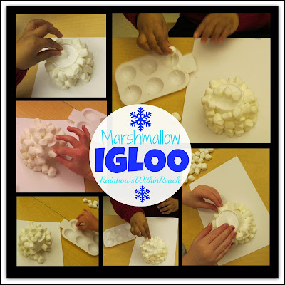 Preschool Winter Project: Igloo with Marshmallows via RainbowsWithinReach (Fine Motor Friday #46)