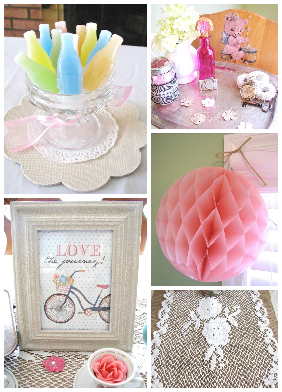 Vintage accessories used as party decor