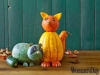womans day fox and raccoon pumpkins