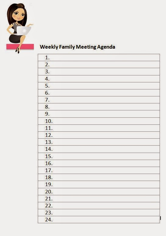 Family Fecs Weekly Family Meeting Agenda Template