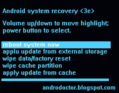 Contoh recovery mode Android -Drio AC, Dokter Android