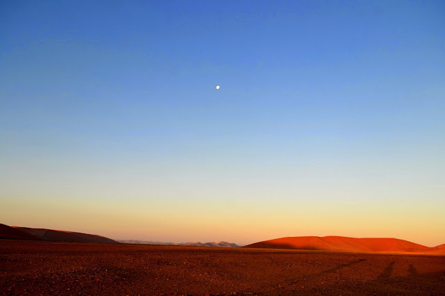 Moon rising over Sossusvlei
