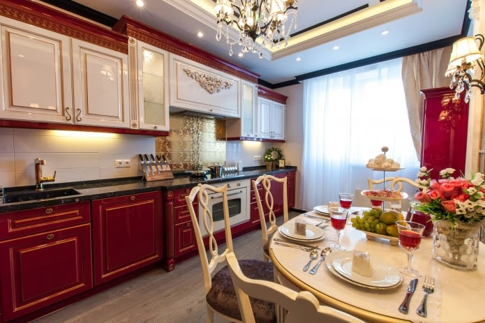 luxury kitchen with dining area: kitchen and dining room with white ...