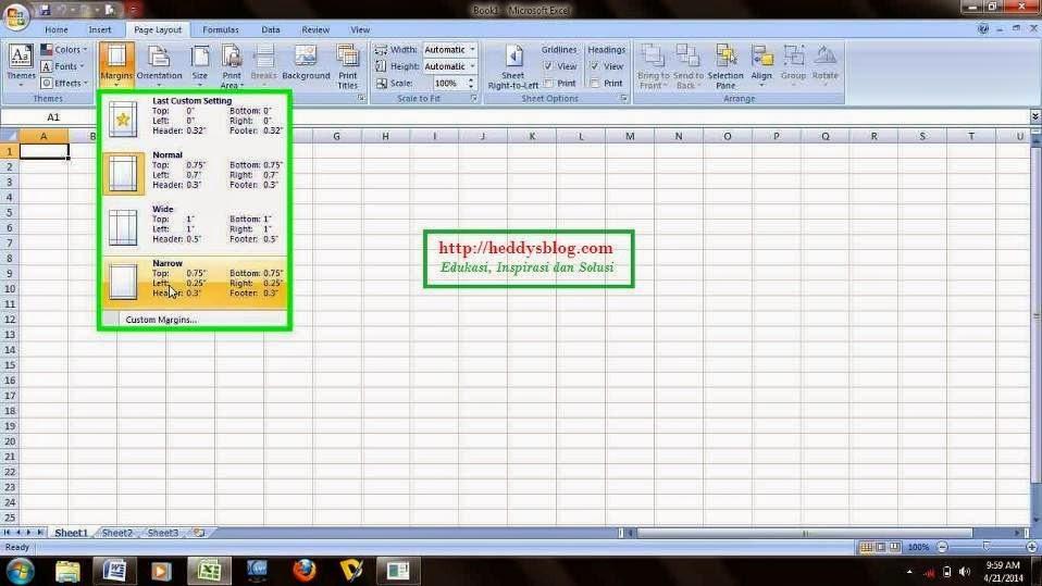 Cara Membuat Batas Margin PencetakanPrint Out pada Microsoft Excel