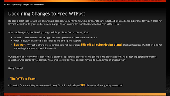 WTFast FREE No More!