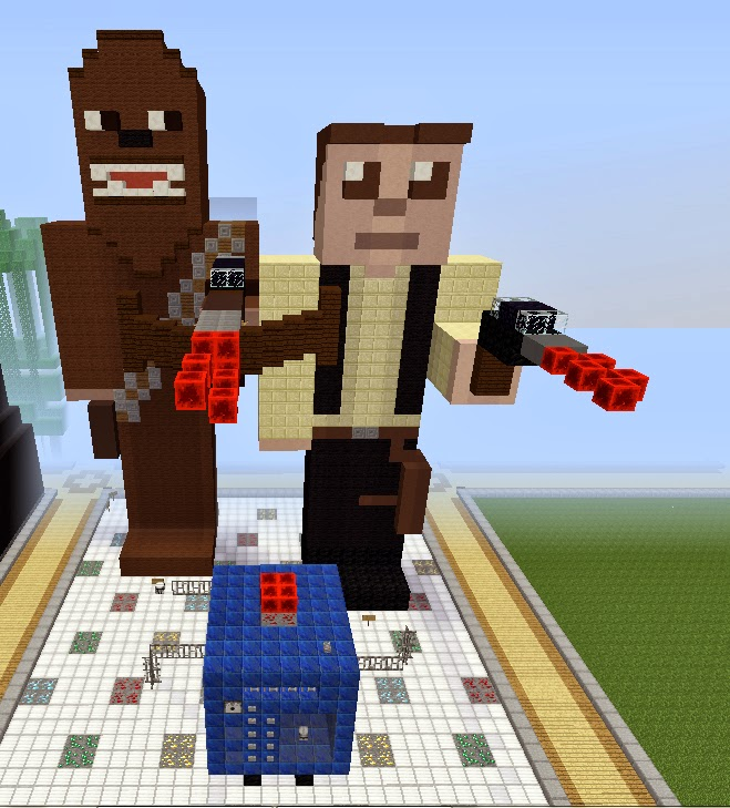 Star Wars: Chewbacca, Han Solo, and Blue Max on the Skrafty Minecraft Server by TrulyBratiful