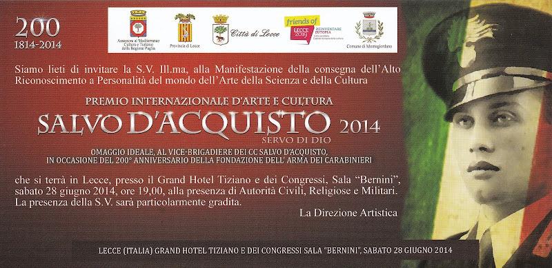"""Premio Internazionale D'Arte: """" SALVO D'ACQUISTO"""""""