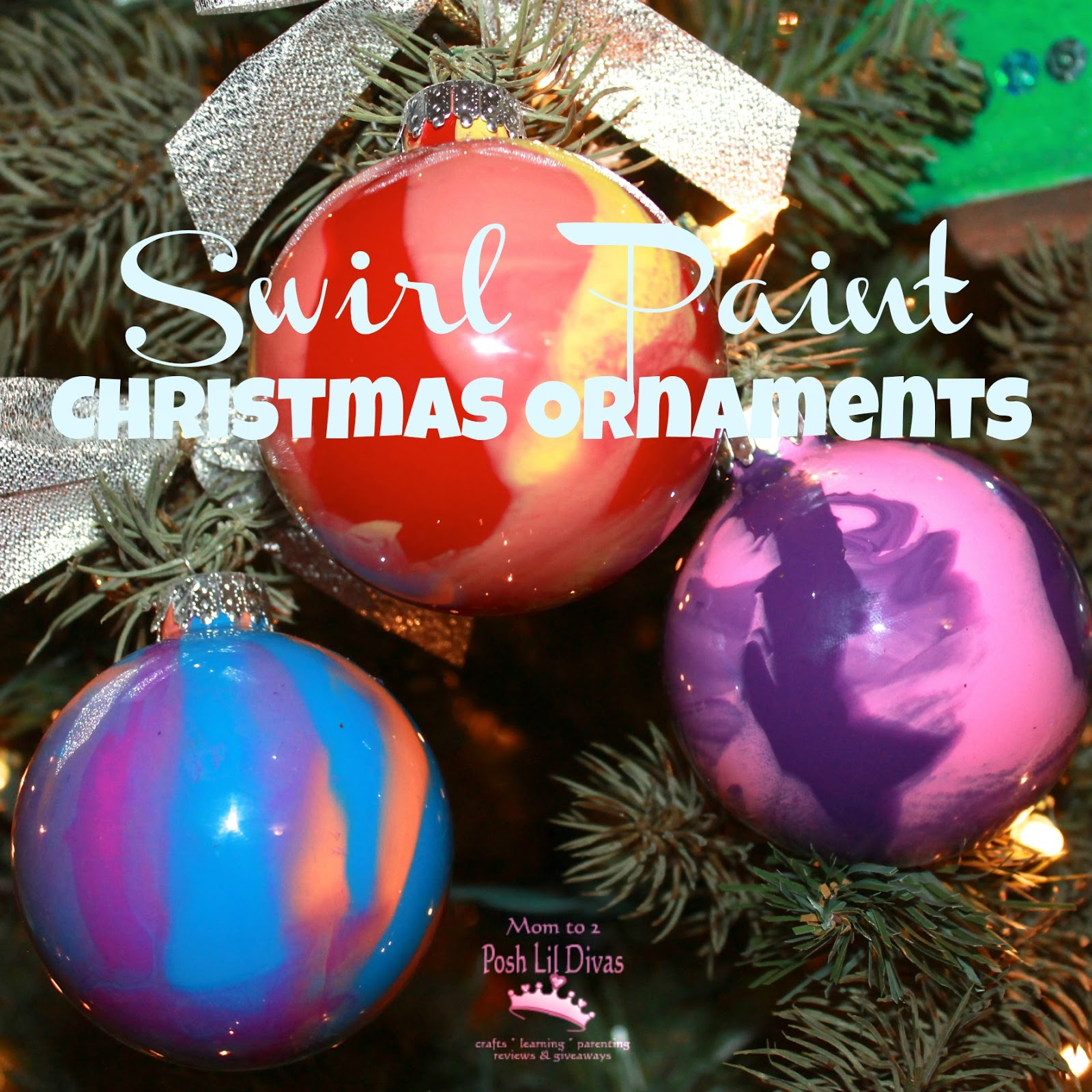 Clear christmas bulbs for crafting - Kid Made Swirl Paint Christmas Ornaments