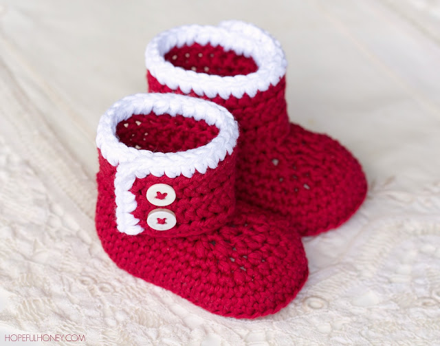 Crochet Baby Santa Booties Pattern : Hopeful Honey Craft, Crochet, Create: Santa Baby Ankle ...