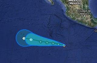 System 90-E im Pazifik wird zum Tropischen Tief 1-E (potentiell Tropischer Sturm ALETTA), Aletta, Mexiko, Nordost-Pazifik, Pazifik, Pazifische Hurrikansaison, 2012, Mai, aktuell, Vorhersage Forecast Prognose, Zugbahn, Verlauf,