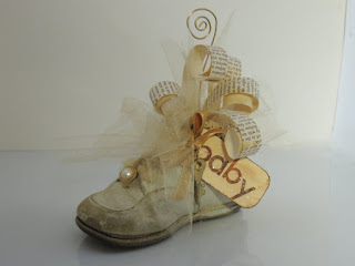 altered baby shoe picture holder