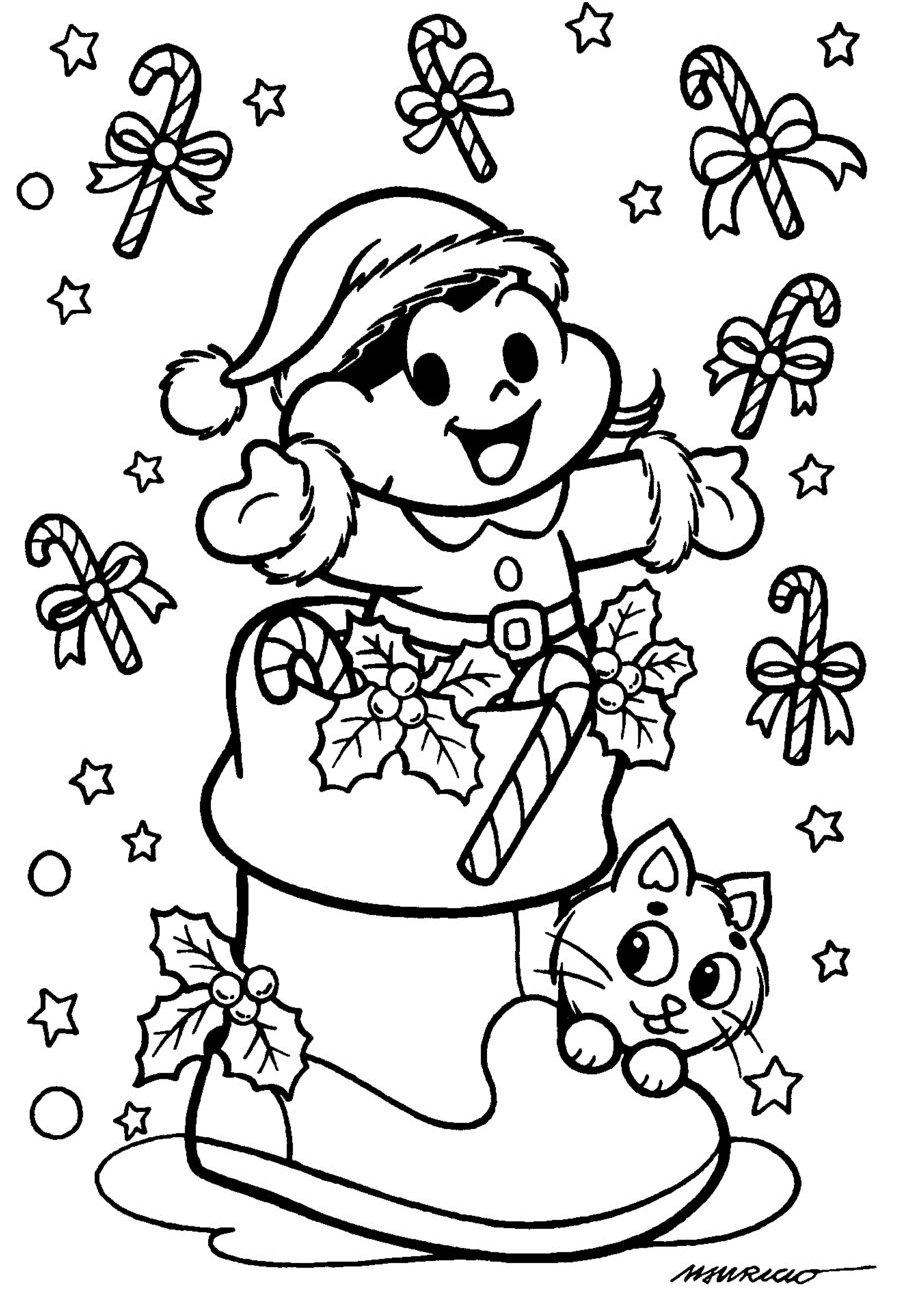 a desenhar o natal da turma da monica colorir