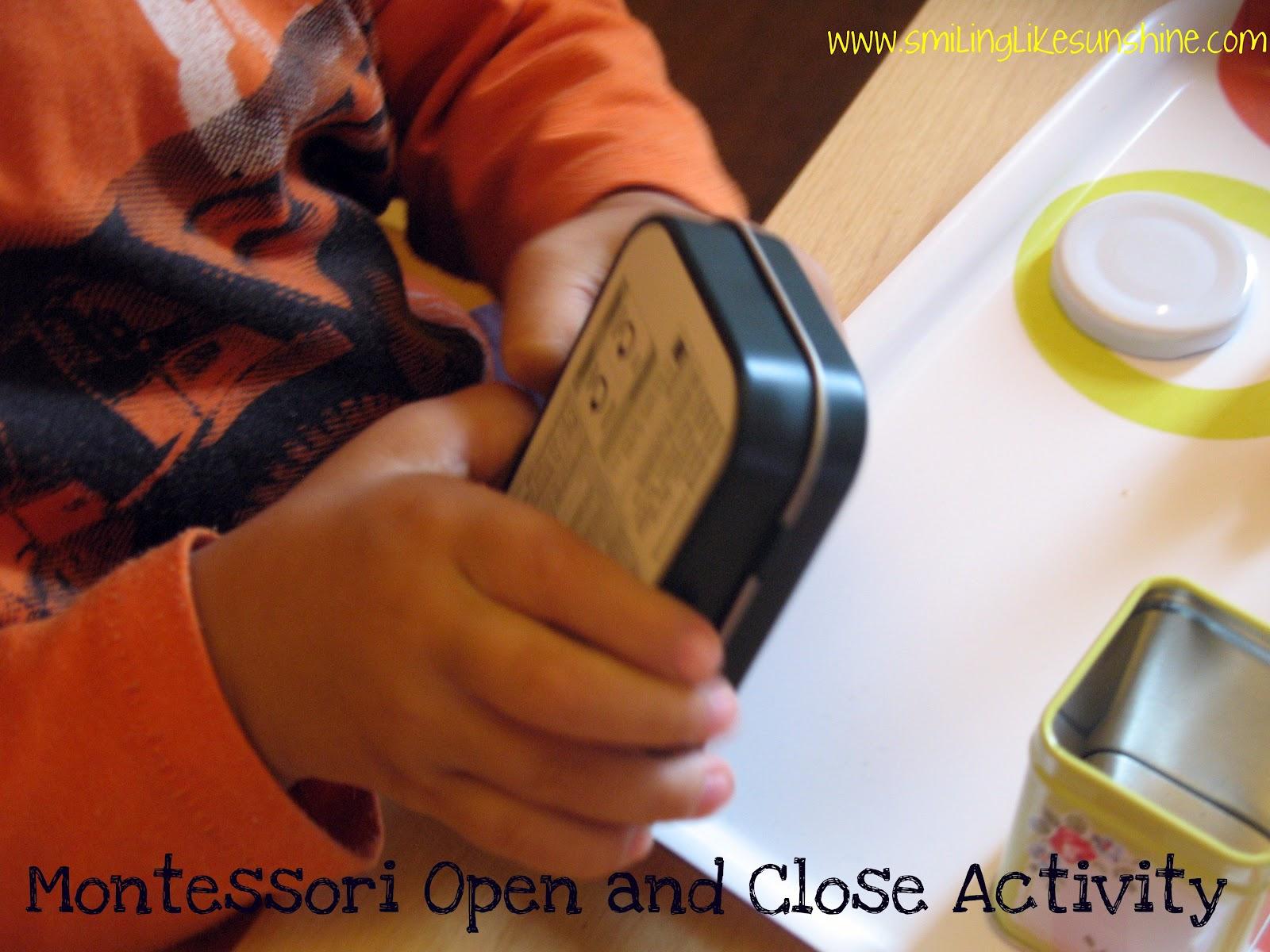 Smiling like sunshine montessori open and close activity for Montessori fine motor skills