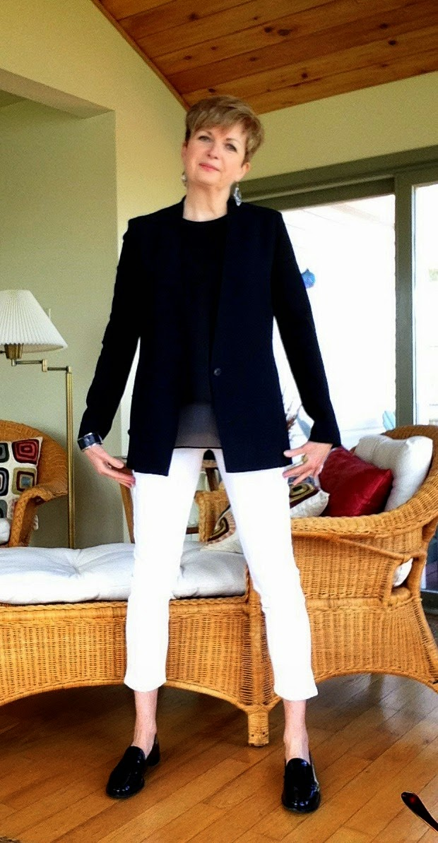 white NYDJ jeans, black Helmut Land jacket, black Rag and Bone tank