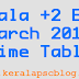 Kerala Plus Two Exam March 2015 Time Table