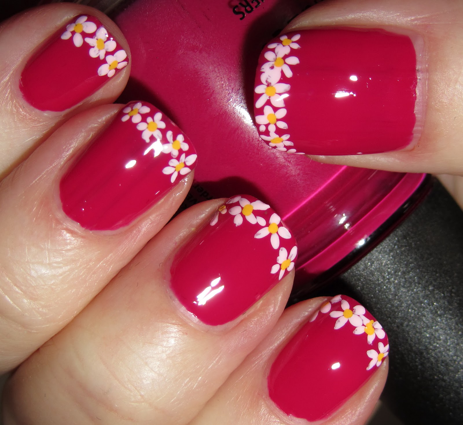 Flower Nail Art French Tip