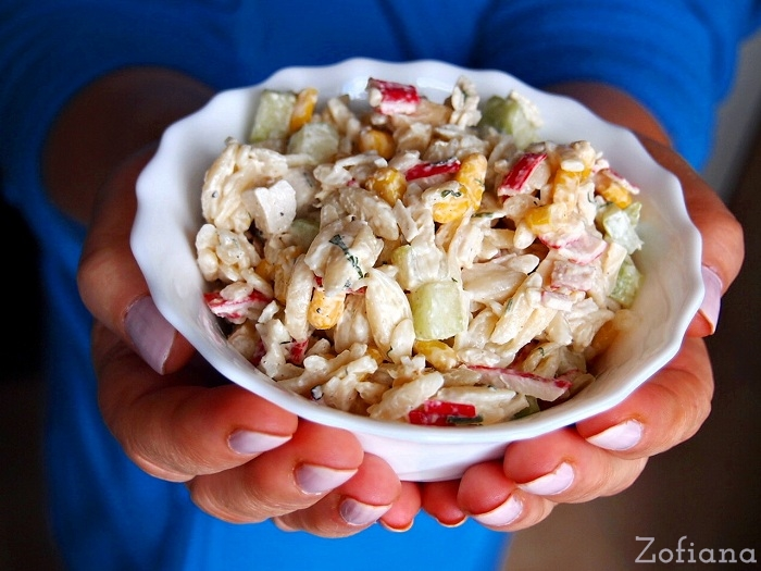 surimi pasta and cheese salad
