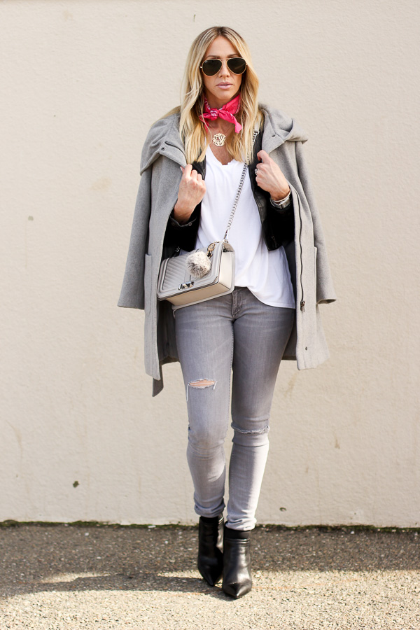 grey trench coat layered overmoto jacket