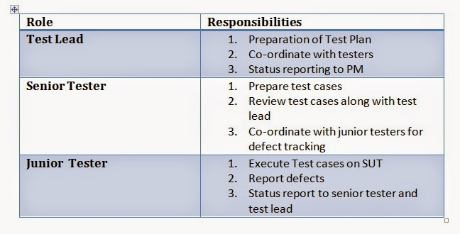 roles and responsibilities in software testing
