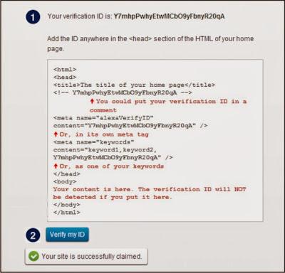 Cara Memasang Meta Tag Alexa blogspot atau blogger