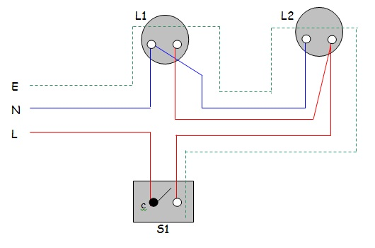 wiring diagram for switch and two lights images wiring two lights practical 1 one way switch control two lamp surface wiring