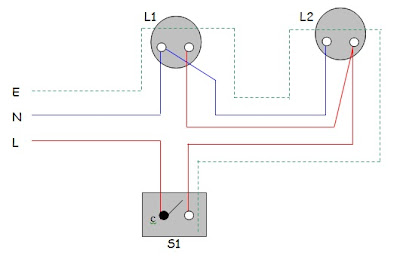 all about electical: Practical 1 - One Way Switch Control Two Lamp ...