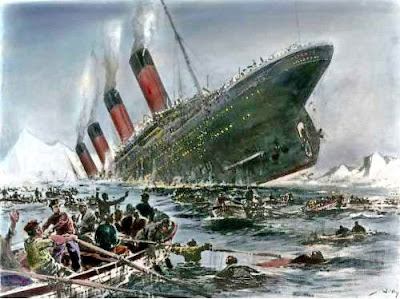 1912 painting of the Titanic sinking by Willy Stower