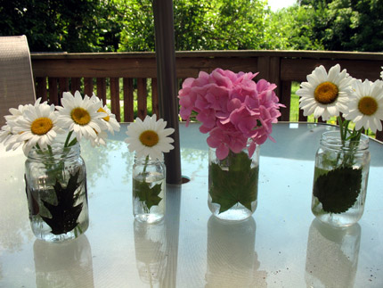 spring flowers: decoupage jars with pressed leaves tutorial