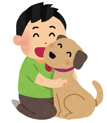 犬と男の子のイラスト(ペット)
