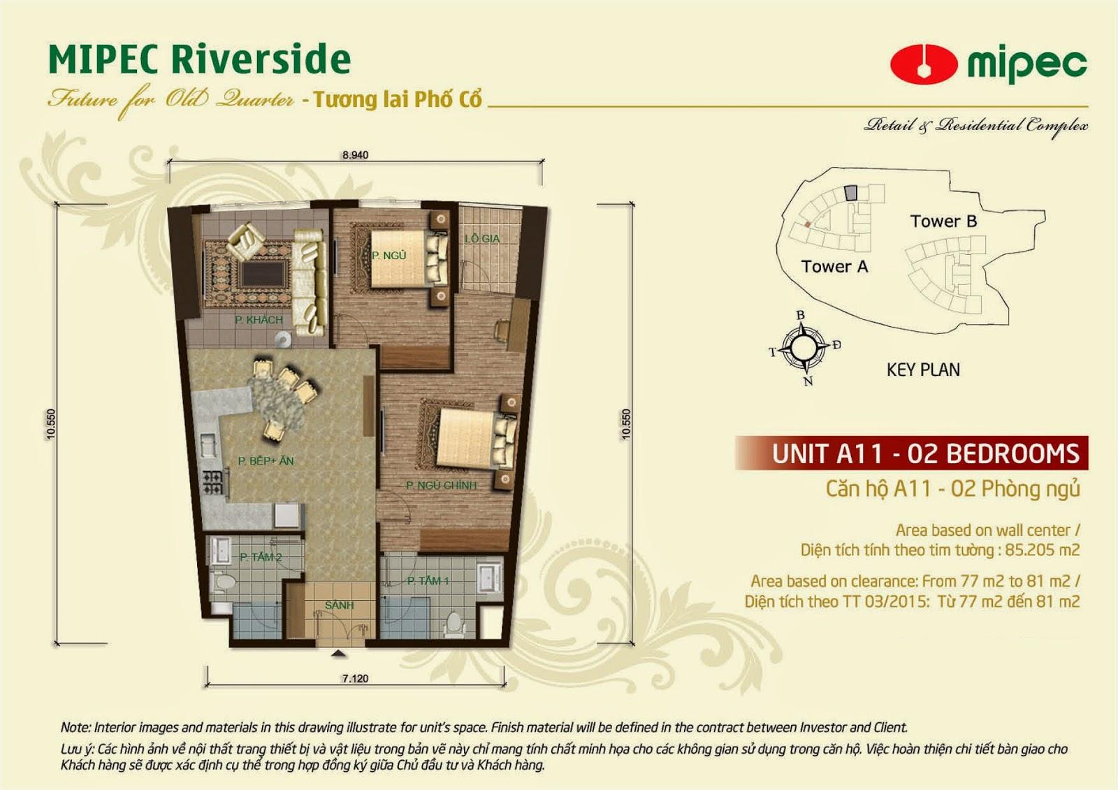 Căn A11 - 85m Mipec Riverside