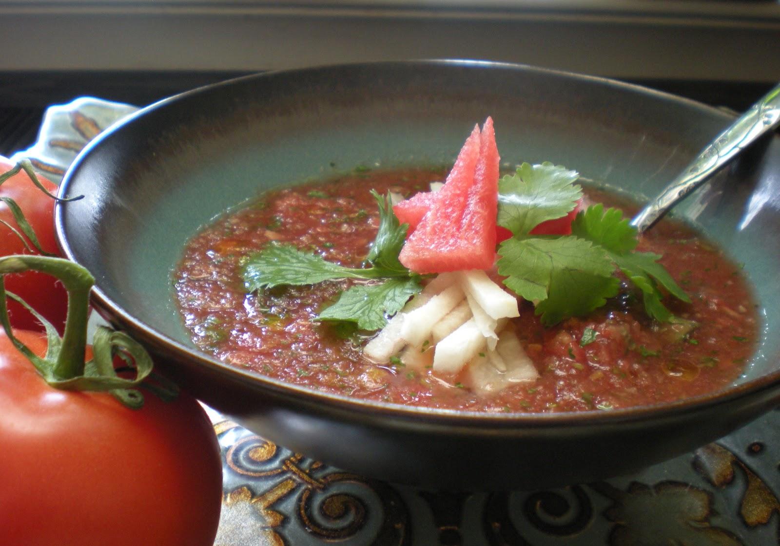 Watermelon And Tomato Gazpacho Recipe — Dishmaps