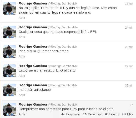 Detiene al tuitero @RodrigoGamboaMx en el Zócalo durante el grito del 15 de septiembre