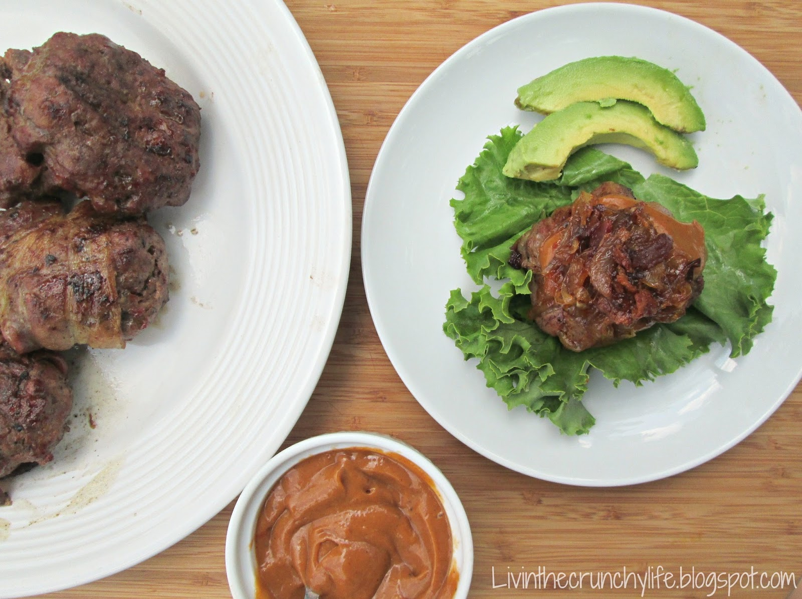 Double Bacon BBQ Burgers with BBQ Avocado Sauce and Caramelized Onions