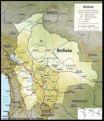 Mapa de los Límites territoriales de Bolivia