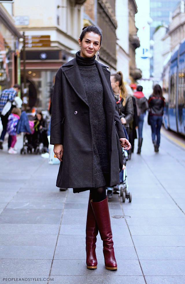 How to wear grey coat and grey dress with knee high boots, grey coat 2014 street style photo by PEOPLEANDSTYLES.COM