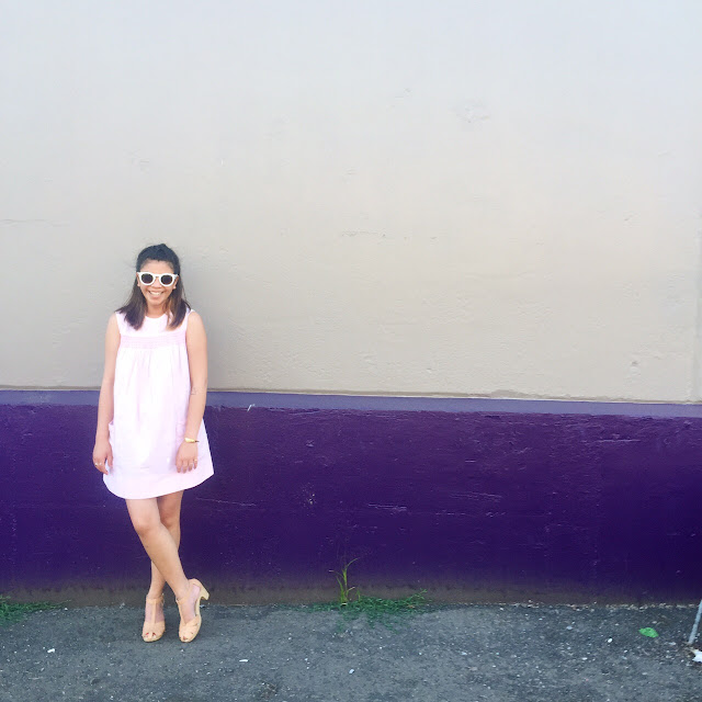 outfit of the day, what i wore today, fashion diaries, pink seersucker dress, baby doll dress, shift dress, white sunglasses, portland fashion blogger, fashion blogger, the p town girls, portland walls, streets of portland, clogs