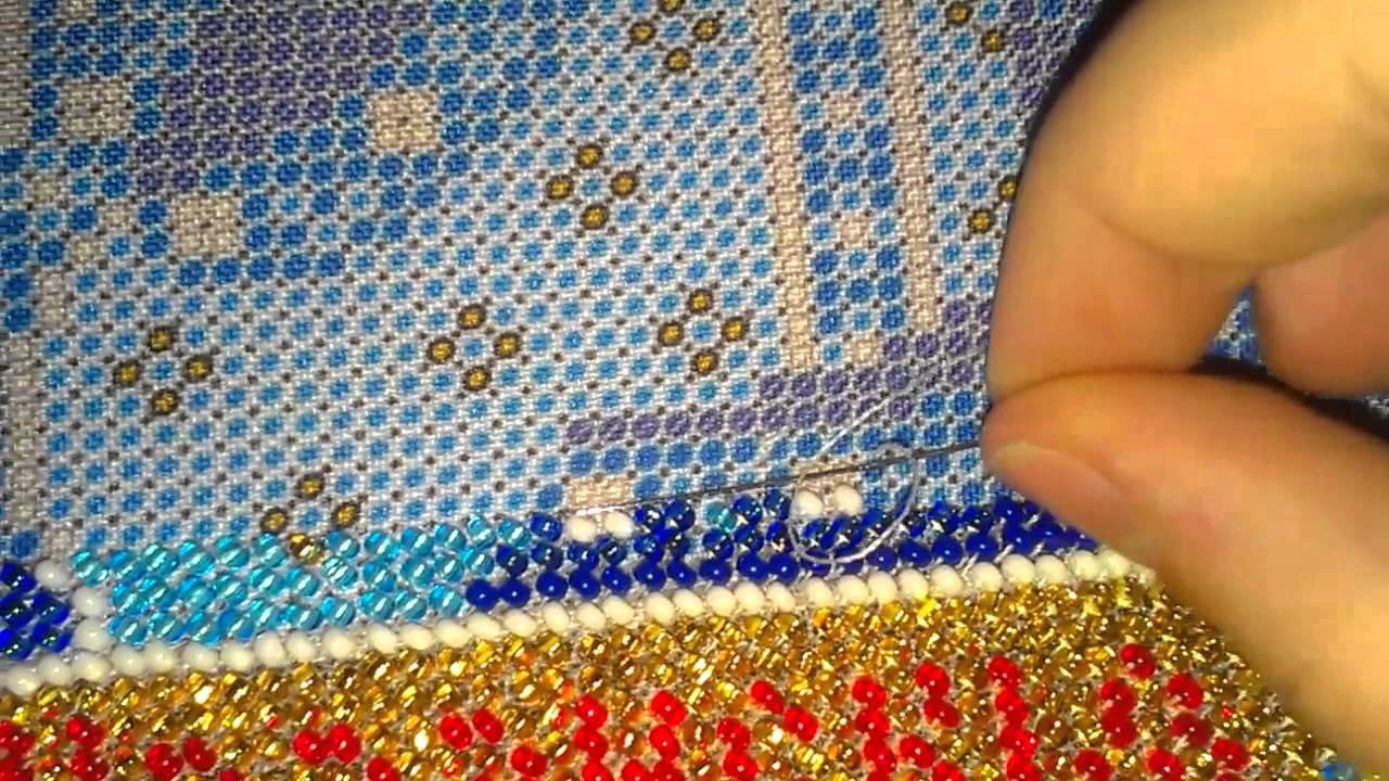 Как закрепить бисер при вышивке