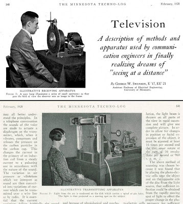 Mechanical TV transmitting and receiver apparatus by George Swenson EE 21 U of Minn Technlog Feb. 1928, p. 140-141