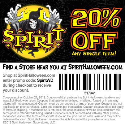 spirit halloween coupon oct 2018