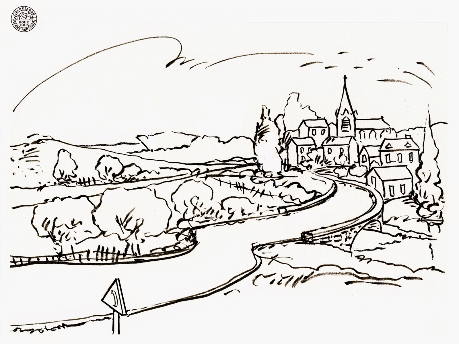 Coloriages pour tous paysage de france - Dessin a colorier paysage ...