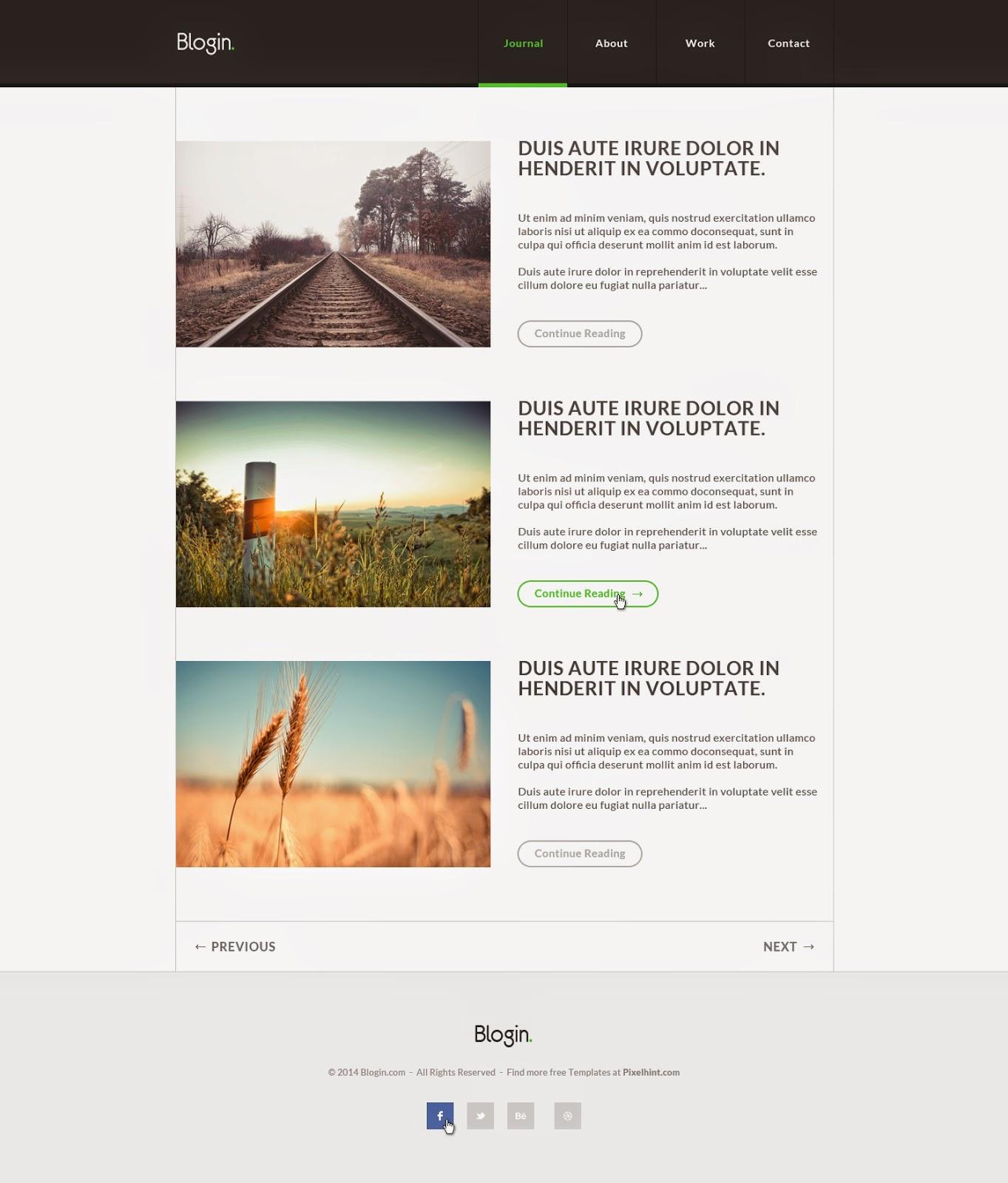 Free Blog PSD Template