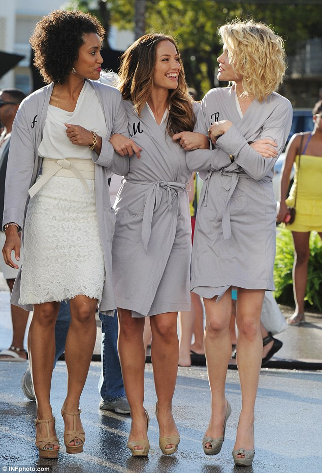 Annie Ilonzeh, Minka Kelly and, Rachael Taylor shooting on the film set of ...