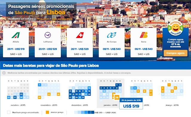 Passagens aéreas em promoção para Lisboa